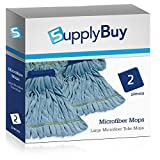 SupplyBuy Large Microfiber Tube Mops | Industrial Wet Mops with Canvas Headbands | Pack of 2