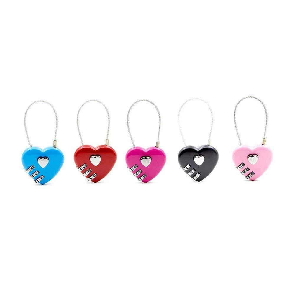 Lvcky - Juego de 5 candados de combinación para Equipaje con Forma de corazón, candados de código para el Gimnasio, Maletas Escolares: Amazon.es: Hogar