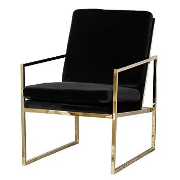 Mr.do Samt Sessel Schwarz Stuhl Loungesessel Armlehnenstühle Polsterstuhl Skandinavisches  Design Kupfer Blick Messing Plattiert
