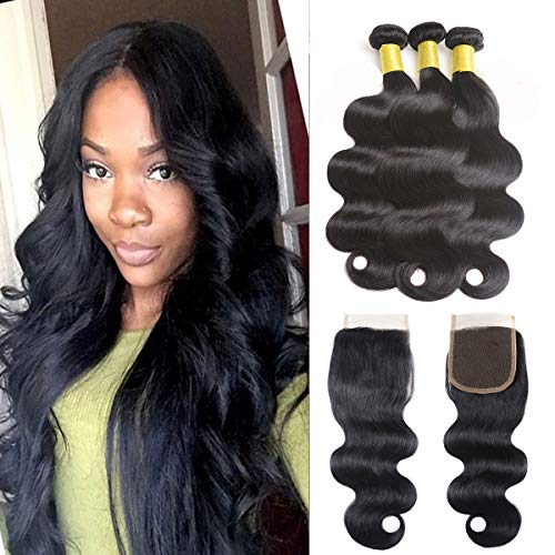 Fumigirl Brazilian Virgin Human Hair Body Wave 100% Unprocessed Human Hair 3 bundles Per Lot Brazilian Body Wave Human Hair Bundles Natural Black Color(18 20 22+16 free part ()