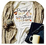 GEMLON Pumpkin Spice and Everything Nice Long Sleeve T Shirt Womens Funny Halloween Baseball Tee Shirts S (White)