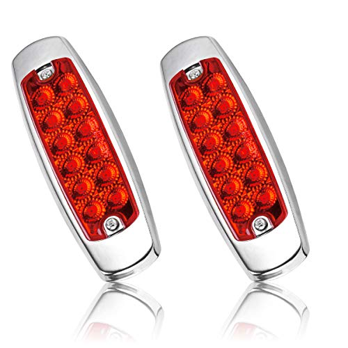 Trailer Side Marker Lights, YITAMOTOR 2 x Red Trailer Clearance Lights with Stainless Steel Trim, Surface Mount 12-SMD-LED Sealed Side Marker Lights