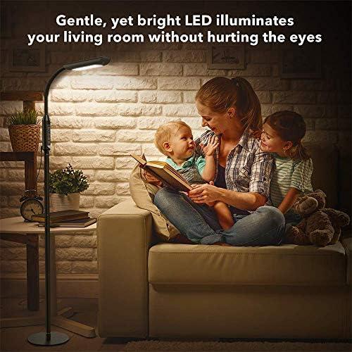 TaoTronics Stehlampe LED Dimmbar 12W Stehleuchte 5 Farbtemperaturen und 5 Helligkeitsstufen für Wohnzimmer Schlafzimmer, 50.000 Stunden Lebensdauer, Touch-Bedienung, 1815 Lumen, Schwarz