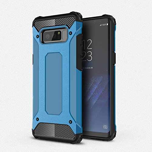 ZARO Samsung Galaxy Note 8 Phone Case 2 in 1 Plastic PC Soft TPU Cover, Silicone Cellphone Cases Protective Dust Proof Spiderweb Anti-Knock Rubber Armor Full Edge Textured Non-slip Covers-Sky Blue