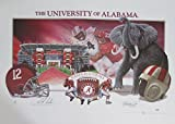 "Nick Saban Alabama Crimson Tide Autographed/Signed 22""x30"" Lithograph PSA/DNA"