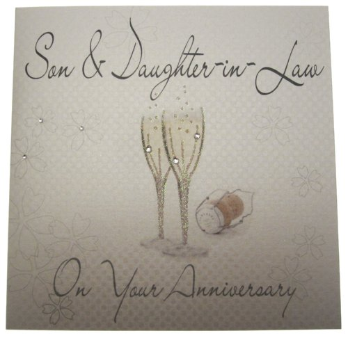 WHITE COTTON CARDS WB173 Son and Daughter-in-Law on Your Anniversary Champagne Glasses ()