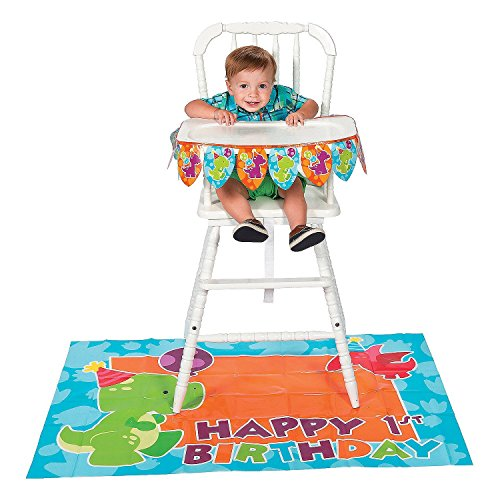 Fun Express 1st Birthday Little Dino High Chair Decorating Kit -