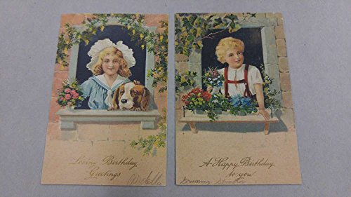 Pair of Birthday Greetings Boy and Girl with Dog Antique Postcard J55184