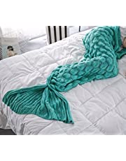 FLORAVOGUE Flora Home Wool Knit Mermaid Blanket Fish Scale and Tassel Design Yarn Knith Blankets for Adults, Winter Sofa Reading Sleeping Blankets Christimas Gift
