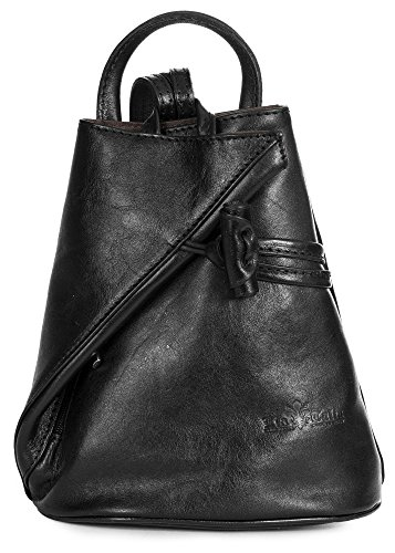 LiaTalia Vera Pelle Made In Italy Brady byLiaTalia Womens Mens Adult Convertible Strap Italian Leather Backpack Rucksack Duffle Shoulder Bag Handbag (Large/Medium - Black Plain) by LiaTalia Vera Pelle Made In Italy