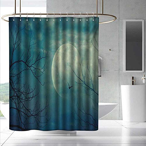 Horror House Shower Curtain&Metal Hooks Halloween with Full Moon in Sky and Dead Tree Branches Evil Haunted Forest Print Waterproof Colorful Funny W108 x L72 Blue ()