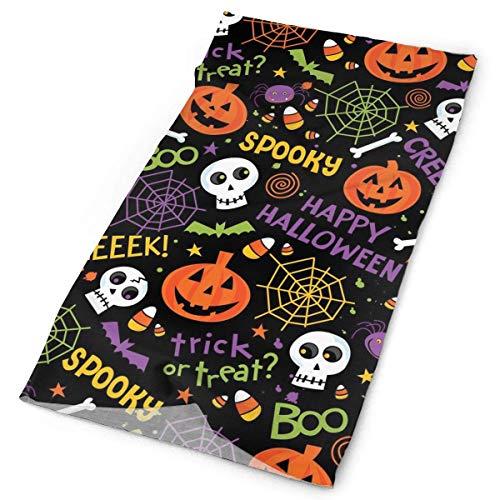 Happy Halloween Trick Or Treat Spooky Spider Pumpkin Headband - Multifunctional Microfiber Sports Headwear - Works as Scarf/Face Mask/Neck Gaiter/Bandana/Balaclava 19.7x9.85 inches(50x25cm)