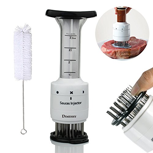Marinade Meat Sauce Injector, Marinade tenderizer  with 30 Stainless Steel Needles for Softening Meat, Free Cleaning Brush by DIMESHY