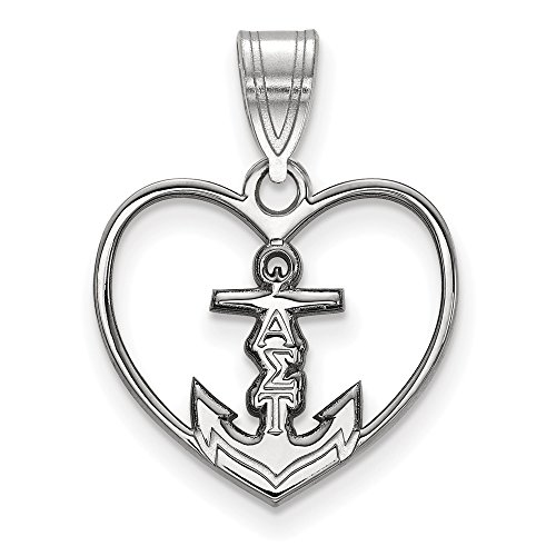 925 Sterling Silver Officially Licensed Alpha Sigma Tau Heart Pendant (22 mm x 17 mm)