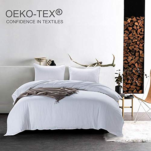 meadow park Stone Washed French Linen Duvet Cover Set 3 Pieces - Super Soft, King Size - 104 inches x 94 inches - Shams 20 inches x 36 inches, Basic Style, White Color