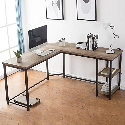 Desk Modern L-shaped (FurniChoi Computer Desk, L-Shaped Desk, Corner Laptop Computer Table with Wood and Metal Shelf, for Home Office Workstation)