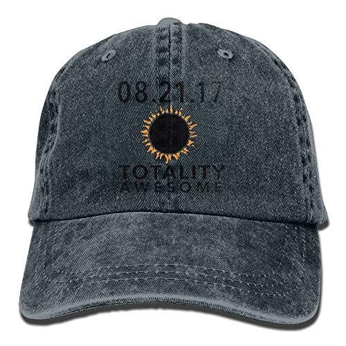 August 21 2017 Total Solar Eclipse Totality Awesome Washed Retro Adjustable Denim Hat Baseball Caps Forman and Woman ()