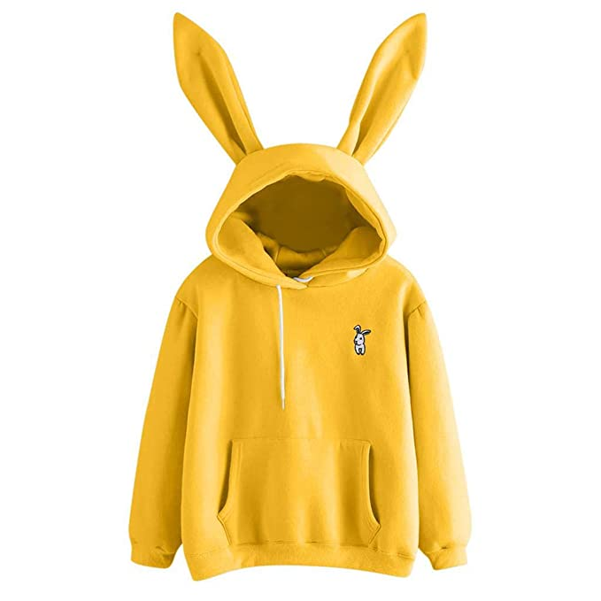 Amazon.com: ZJSWCP Sweatshirt New Casual Womens Long Sleeve Rabbit Hoodie Sweatshirt Pullover Tops Blouse Women Sweatshirt Harajuku Sudadera Mujer 10: ...
