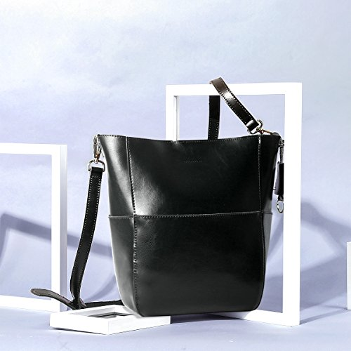 Capacité Noir La Avec Femme Leathario Pour Bandoulière Sac Cuir Épaule Femmesac Grande En À Bx7gwO