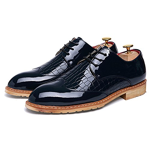 In Business Mens Formale Sposa up Da Brogues Microfibra Abito MERRYHE Derby Vernice Scarpe Da Di Cappotto Lace Blue Party 6EBwqdO