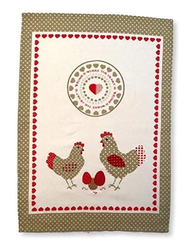 Holiday Kitchen Towels Dish Cloth 4-Pack, 100% Cotton, Super Absorbent, 18 by 27 Inch - Vintage Colorful Printed Design Tea Towels -Chicken Love