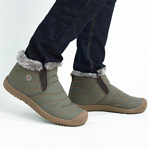 Winter Ruiatoo Snow Warm Anti Booties Fully Boots Waterproof Army Green Boot Fur Top high Slip with Ankle rxrdp4n8qw