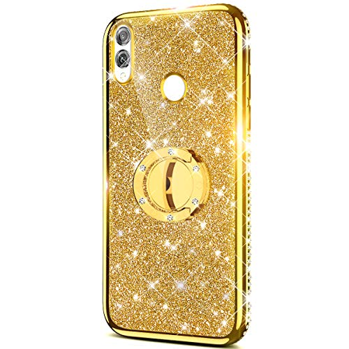 Price comparison product image Case for Huawei P Smart 2019 Glitter Case, Sparkly Glitter Bling Diamond Rhinestone Bumper Ring Kickstand Flexible Soft Rubber TPU Protective Case Cover Huawei P Smart 2019 Case for Girl Women, Gold