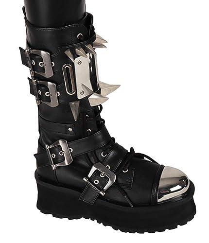 af5ea418a877 SharpSpirit Cyborg Futuristic Cyber Military Combat Steampunk Mens Boots 4  Black