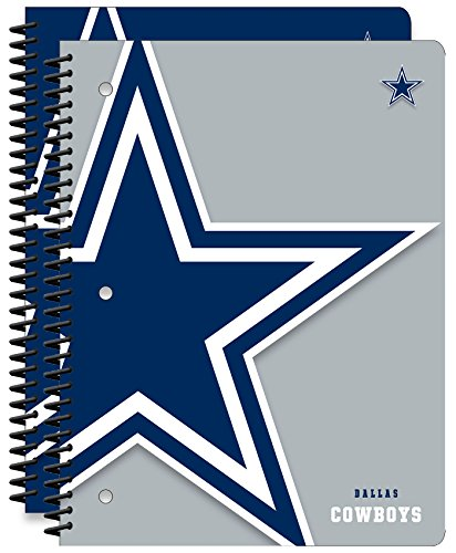 Dallas Cowboys NFL 1-Subject School Notebooks, 2 Pack, 70 Pages Each, 8