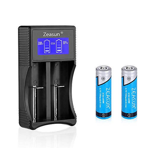 Zeasun 14500 Rechargeable Batteries 2 Pack 750mAh 3.7V Lithium Button Top Battery and 18650 14500 16340(CR123A) 17670 26650 AA AAA USB Universal Charger for Q5 Flashlight and (750 Mah Lithium Battery)