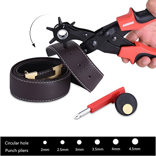 Goodes Leather Hole Punch,Professional Leather Belt Hole Punch,2.0-4.5mm,Great for Belt,Saddle,Watch Strap,Shoe,Fabric,Paper,Rubber and More(Black)
