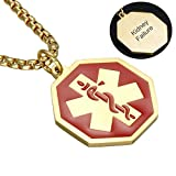CF Free Engraving Blank Stainless Steel Medical Alert Disease Awareness Identification Necklace Military Dog Tag Octagon Pendant,Emergency SOS Daily Life Saver for Kids,Grandpa,Grandma,Parents