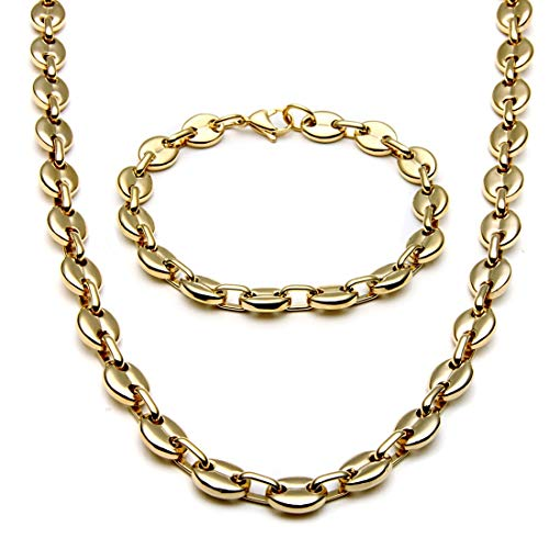 sandywident Stainless Steel Necklace Bracelet Set Coffee Bean Link Chain Jewelry Sets for Men Collier Homme Gold Black Color Chains ()