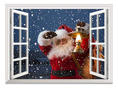 Peel and Stick Wallpapaer Collage Removable Large Wall Mural Creative Wall Decal ( 03 Santa Claus Coming on Christmas Eve)