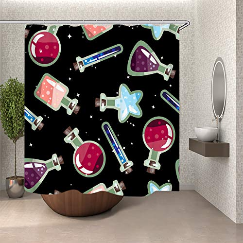 SARA NELL Bathroom Shower Curtain Halloween Potion Bottle Pattern Shower Curtains Fabric Shower Room Curtain Durable Waterproof Home Bath Curtain Sets with 12 Hook