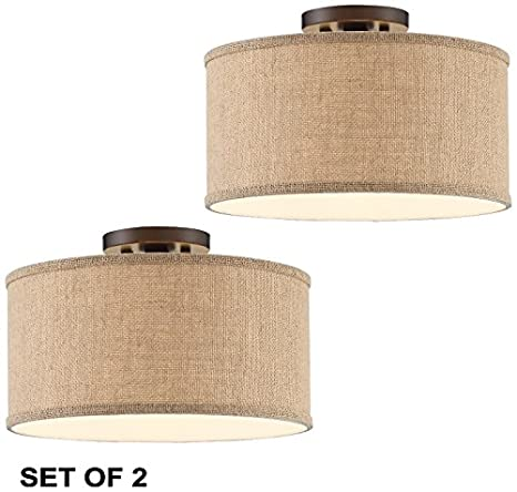 Adams burlap drum shade ceiling lights set of 2 amazon adams burlap drum shade ceiling lights set of 2 mozeypictures Images