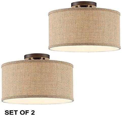 Set of 2 adams bronze burlap drum shade ceiling light amazon set of 2 adams bronze burlap drum shade ceiling light aloadofball Gallery