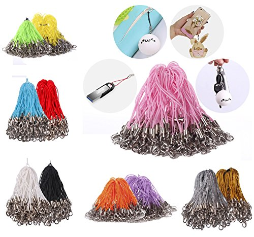 Mini-Factory 100 X Pcs Mix-Colors Mobile Cell Phone Cords Strap Lariat With Lobster Clasp for Cellphone/iPod/Mp3/Mp4/USB Flash Drive and More ()