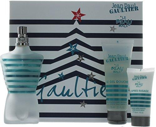 Coffret Jean Paul Gaultier (Jean Paul Gaultier Le Beau Male Coffret: Eau De Toilette Spray 125ml/4.2oz + All Over Shower Gel 75ml/2.5oz + After Shave Balm 30ml/1oz 3pcs)