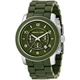 Michael Kors MK8120 Unisex Chrono Green Dial and Rubber Bracelet Watch