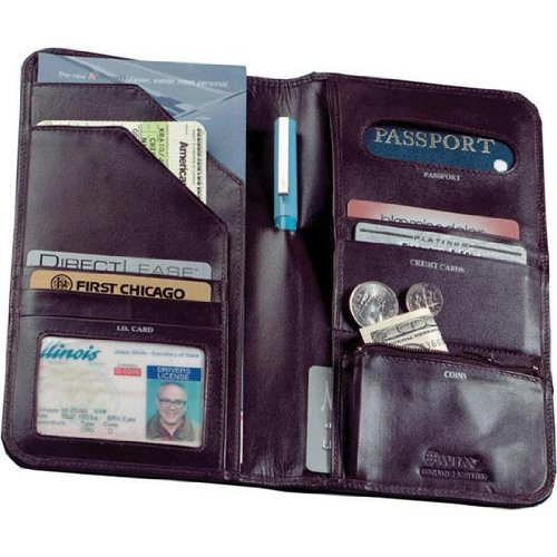Cowhide Nappa Leather Passport Travel Organizer Color: Brown, Closure: No Magnetic Snap (Brown Cowhide Nappa Leather)