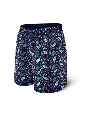 """Saxx Underwear Men's Cannonball 2N1 7"""" Regular Swim Shorts with Ballpark Pouch"""