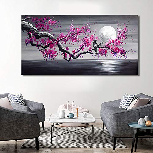 Framed Plum Blossom Tree Oil Painting Purple Flower Canvas Wall Art Large Gallery Wrapped Black and White Floral Landscape Pictures Living Room Home Decoration Office 24x48 inches