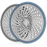 STAN BOUTIQUE Shower Hair Drain Trap | Catcher Stall Protector Strainer Flat Cover Stopper for Bathrooms Stainless Steel and Silicone for Easy Cleaning - 2 Pack