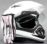 Dual Sport Helmet Combo w/Gloves - Off Road Motocross UTV ATV Motorcycle Enduro - Gloss White, Pink - Small