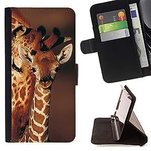 BullDog Case - FOR/Sony Xperia Z2 D6502 / - / giraffe cub baby brown pattern orange Africa /- Monedero de cuero de la PU Llevar cubierta de la caja con el ID Credit Card Slots Flip funda de cuer