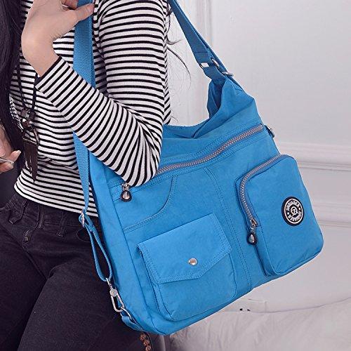 de Bolso Azul Mujer Baratos Mochilas Impermeable Moda Mano para Messenger Bandolera de Nylon Viaje Escolares Tablet Sport Outreo Two Bolsos Bag Bolsos Bolsas 0zxASSq