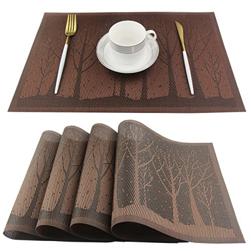 Bright Dream Placemats Washable Plastic Placemats Wipe Clean for Kitchen Table Heat-resistand Woven Vinyl Kids Place Mats for Dining Mats Set of 4(Brown)