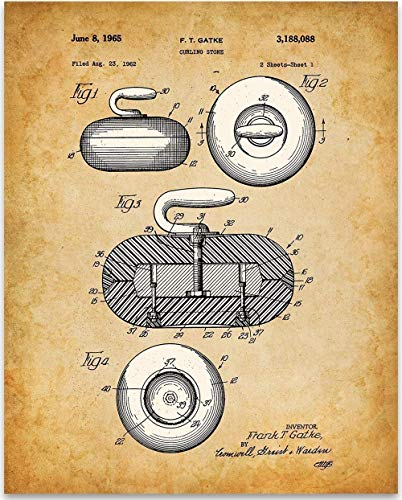 - Curling Stone - 11x14 Unframed Patent Print - Great Room Decor or Gift Under $15 for Curling Enthusiasts