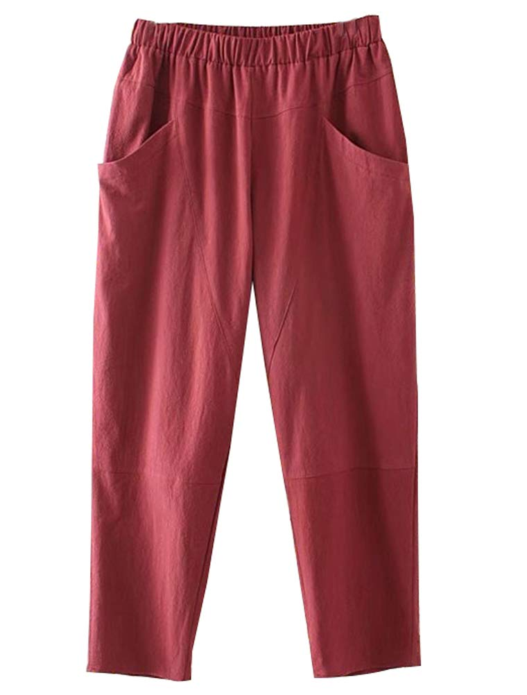 Mordenmiss Women's New Fall Pants Elastic Waist Casual Pants Trouser with Pockets (L Red)